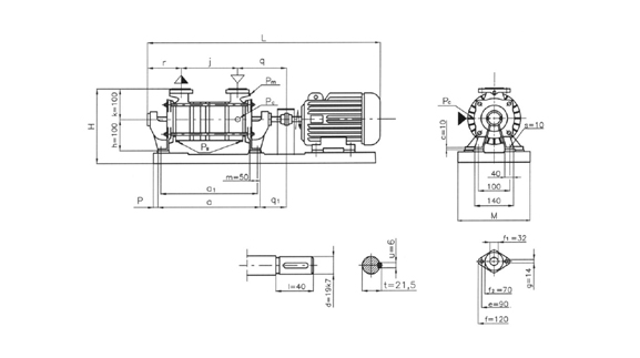 Dimensions of units and pumps PW.1 and blowers DW.1